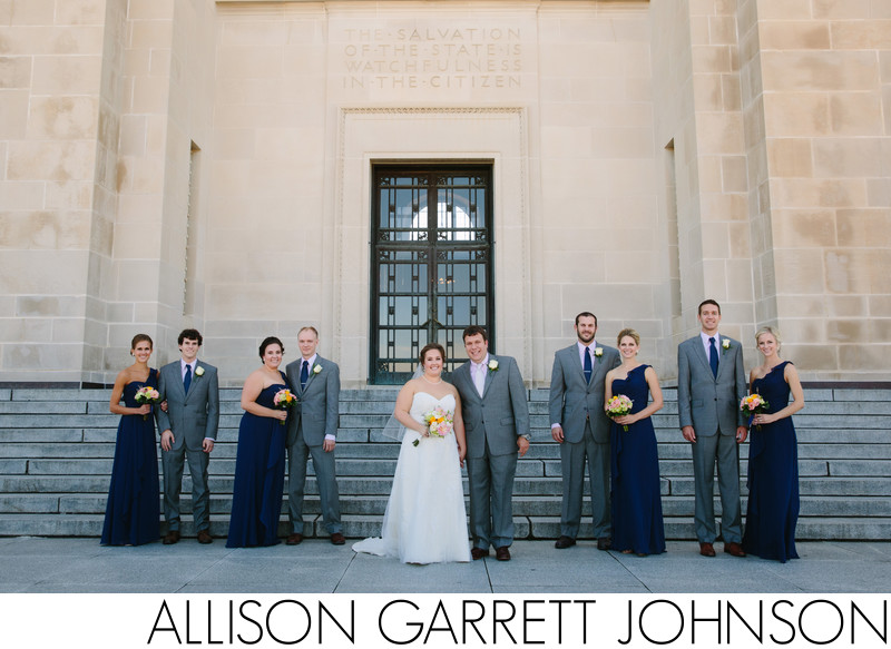 Wedding Party on steps of Nebraska State Capitol