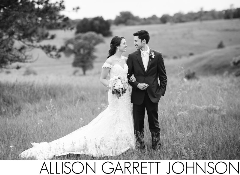 Black and White Wedding Portrait at Pioneers Park