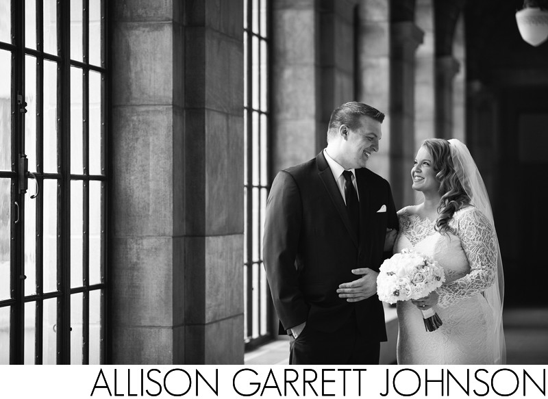 Classic Black and White Wedding Portrait at State Capitol