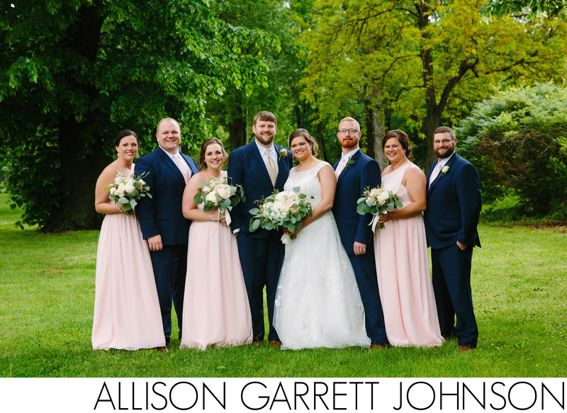 Wedding Party in Navy and Pink at Seward County Fairgrounds