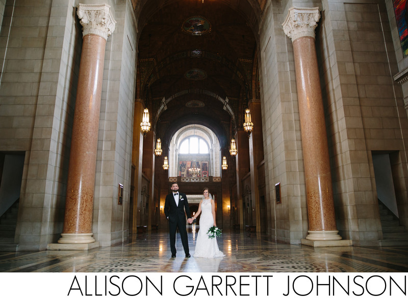 Wide Angle of Bride and Groom in Capitol Great Hall