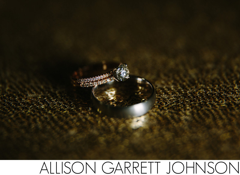 Stunning Wedding Rings on Gold Sequins