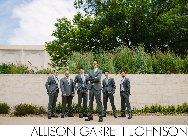 Groom and Groomsmen Outside Sheldon Sculpture Garden