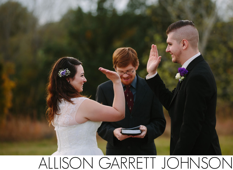 High Fives During Wedding Ceremony