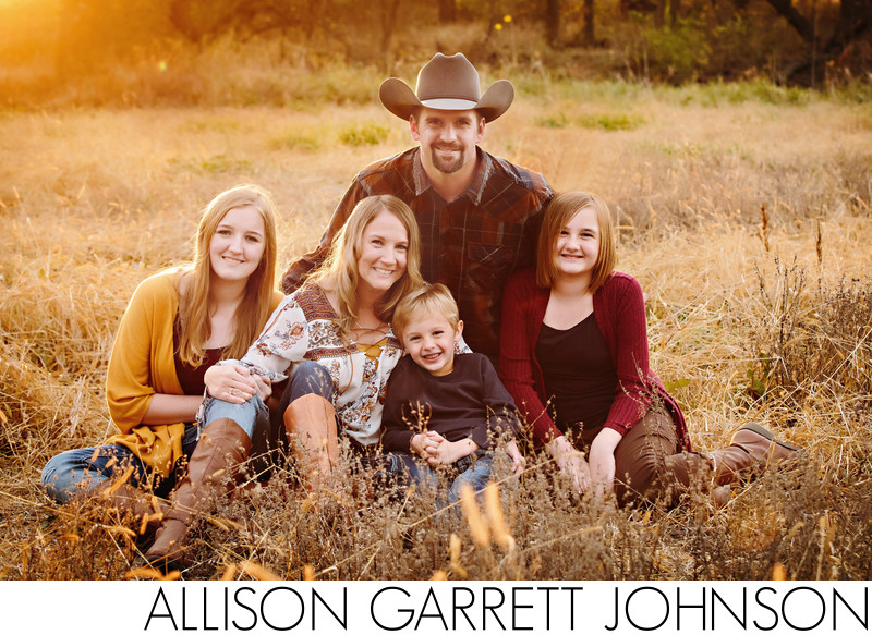Fall Family Portraits at Sunset with Tall Grass