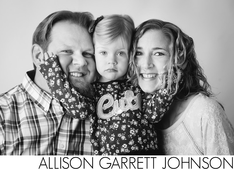 Cute Family in Studio Portrait