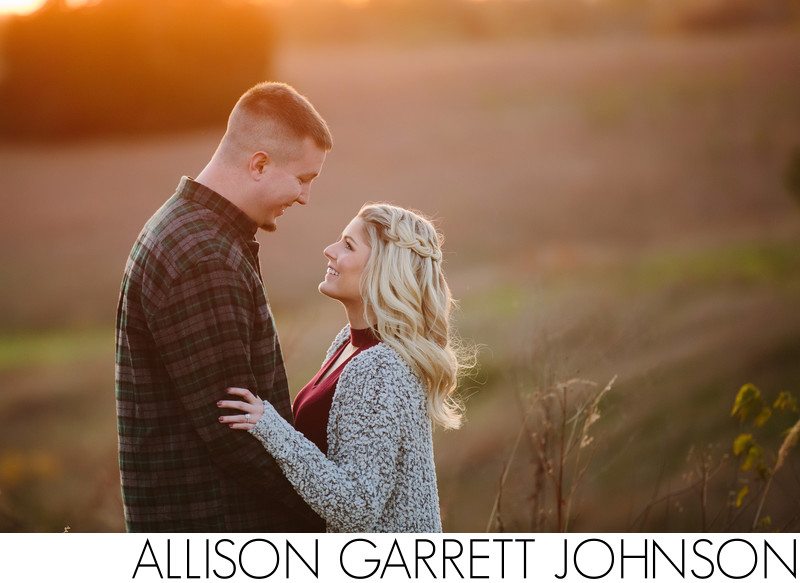 Golden Hour Open Field Engagement Session
