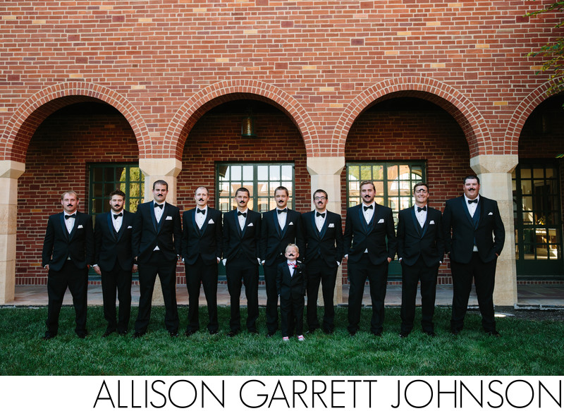 Groom and Groomsmen with Funny Mustaches
