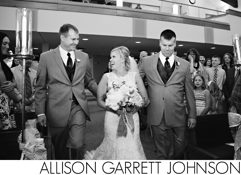 Brothers Walk Bride Down Aisle Good Shepherd Lutheran