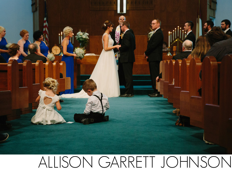 Flower Girl and Ring Bearer during York, NE Wedding Ceremony