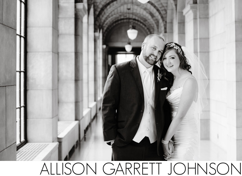 State Capitol Gallery Hallway Wedding Portrait