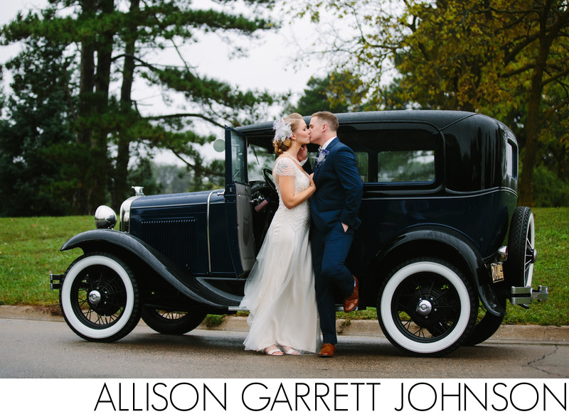 Vintage Model T Car Wedding Photo