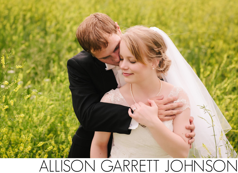 Wedding Portrait in Field of Flowers