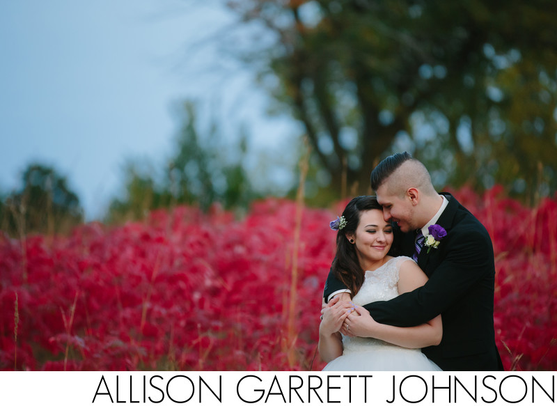 Stunning Wedding Photo with Red Smokebush in Background