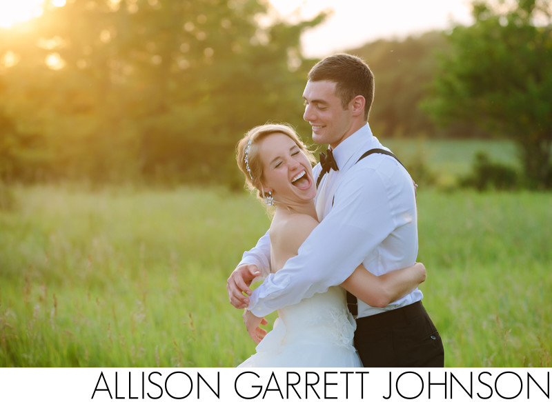 Laughing Sunset Wedding Picture