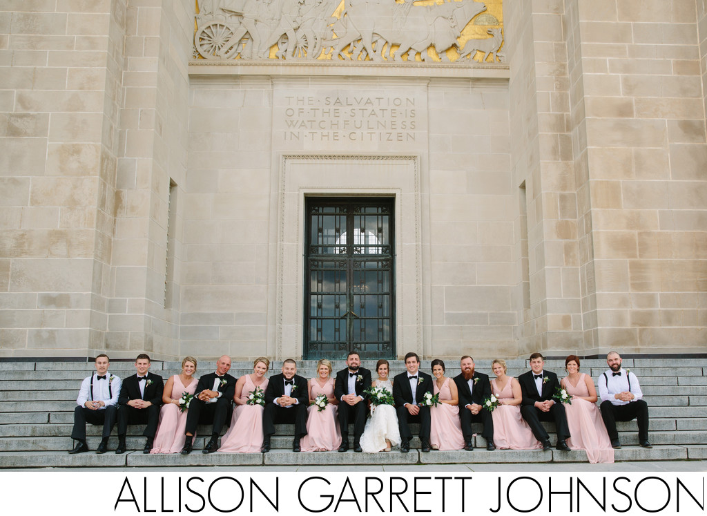 Wedding Party Sits on Capitol Steps