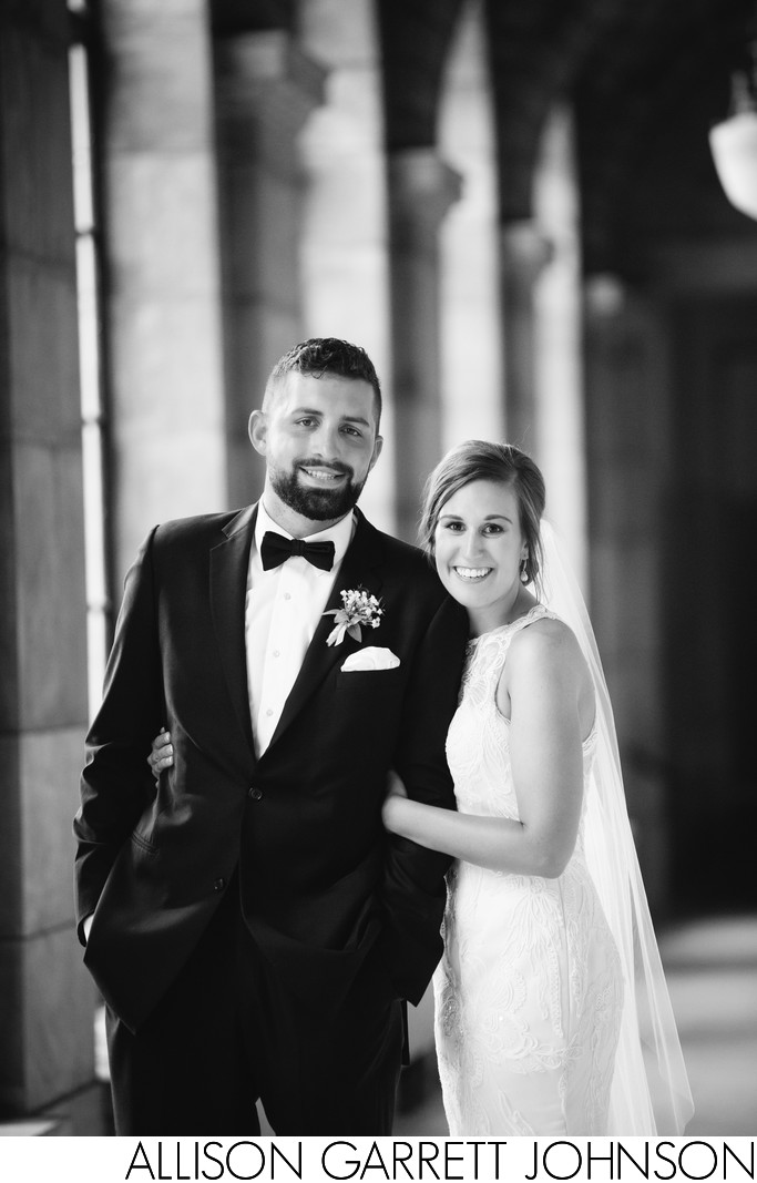 Stunning Black and White Portrait of Bride and Groom