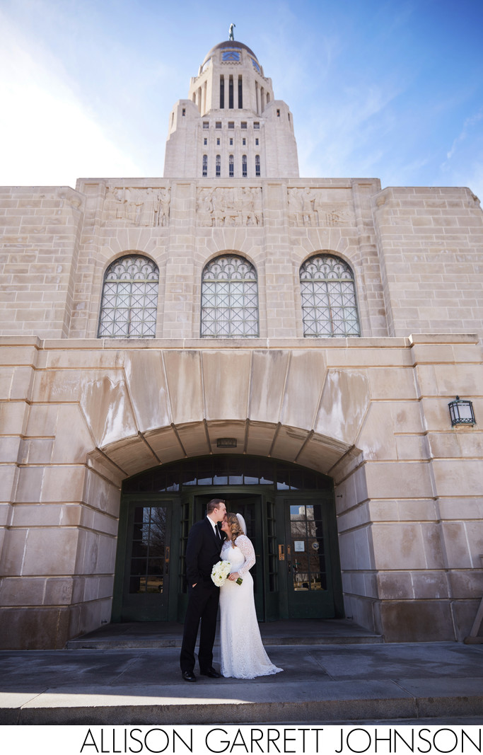 Exterior State Capitol Wedding Portrait