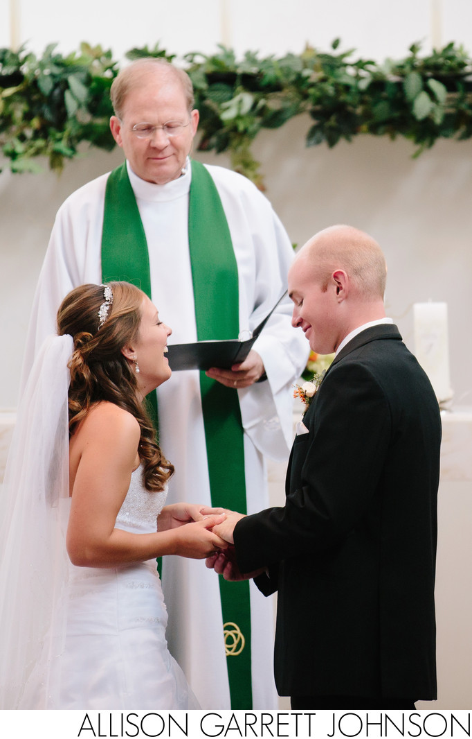 Couple Exchanges Rings at Christ Lutheran Wedding
