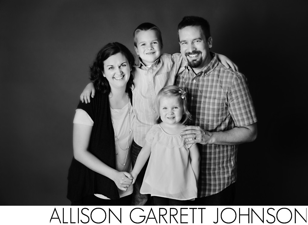 Black and White Family Picture in Studio