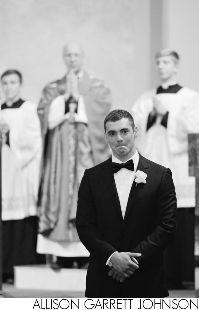 Emotional Groom as Bride Walks Down Aisle