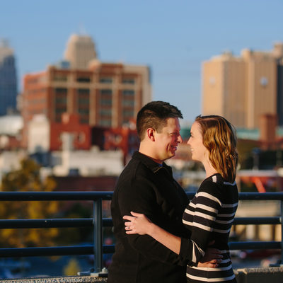 Downtown Kansas City Skyline Engagement Photo