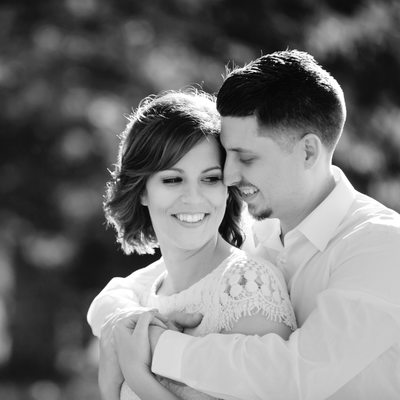 Black and White Image of Engaged Couple