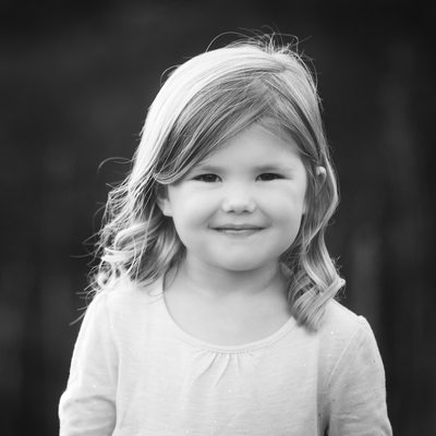 Cute Young Girl in Black and White