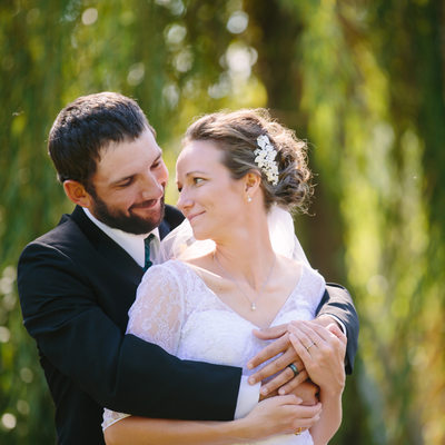 Wedding Portrait with Weeping Willow