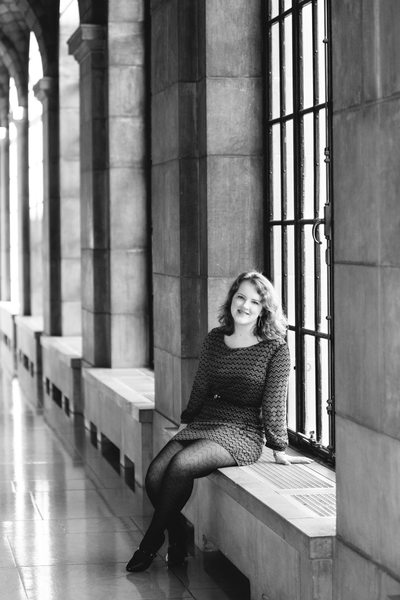 Black and White Senior Portrait Nebraska State Capitol