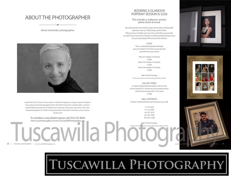 Tuscawilla Photography magazine about price list