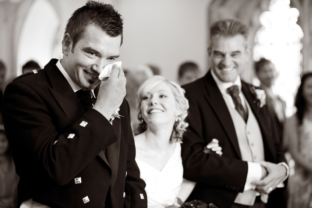 Groom cries when he sees his bride walking down the aisle