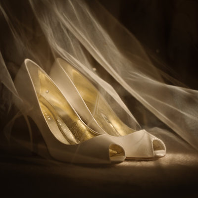 wedding shoes for a bride at Pennyhill Park in Surrey