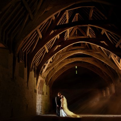 Bride and Groom in beautiful sunlight in Wiltshire wedding