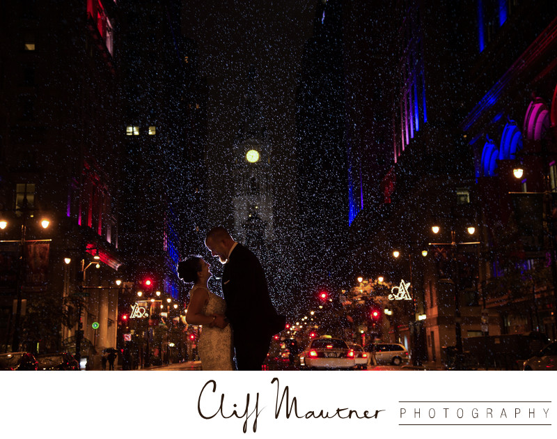 Nighttime City Hall Photo in the Rain