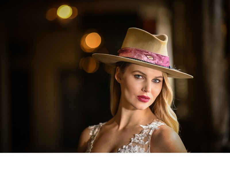 Bride in Cowboy Hat