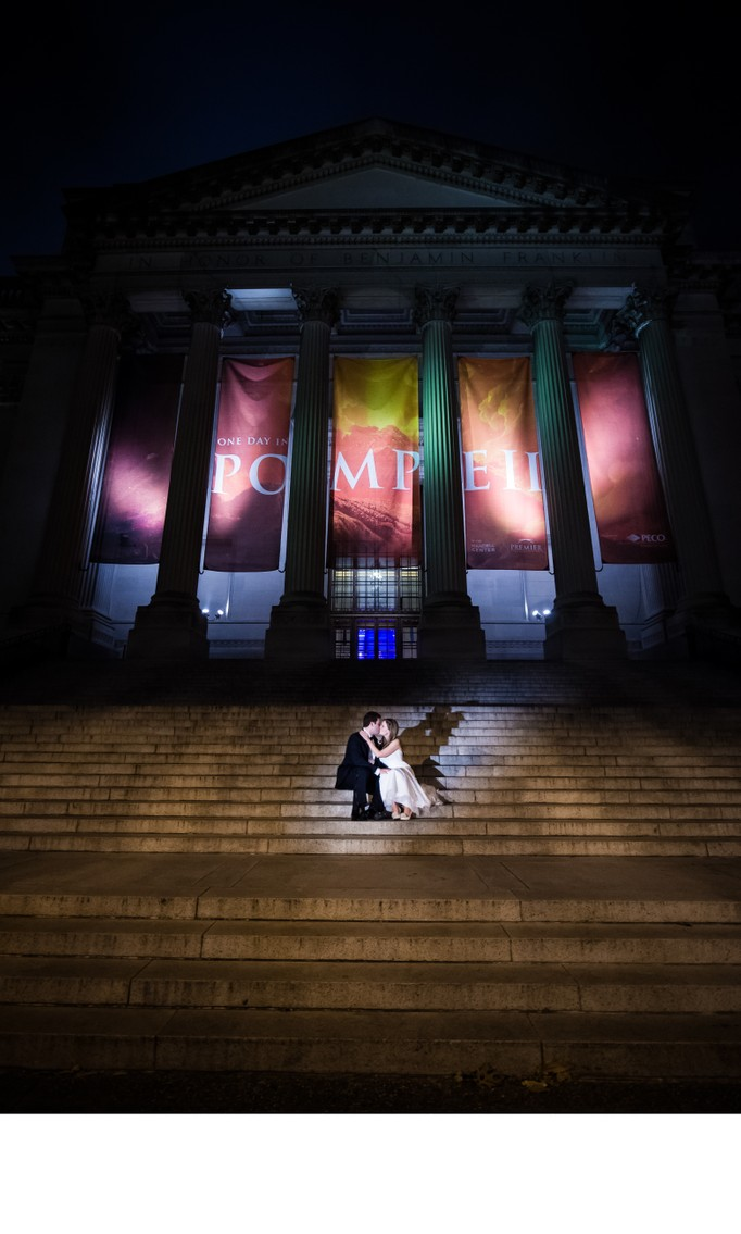 Franklin Institute Wedding Photos on Steps