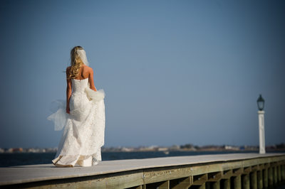 Bride on Dock at Jersey Shore