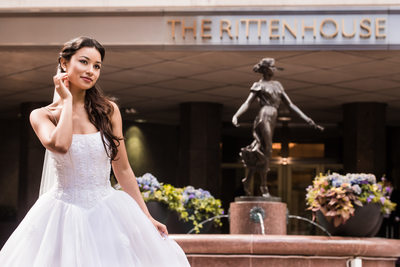 Bride in Front of Rittenhouse Hotel