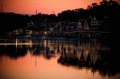 Sunset at Boathouse Row Cescaphe Water Works Weddings
