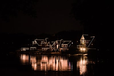 Boathouse Row at Night, View From Water Works