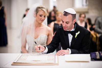 Signing the Ketubah at Philly Wedding