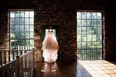 Wedding Dress in Windows at Holly Hedge Estate
