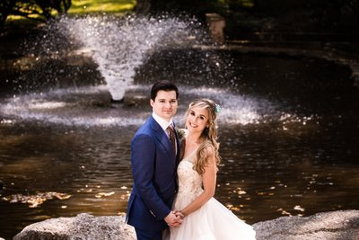 Wedding Pictures by the Fountain at Holly Hedge