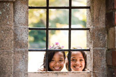 Flower Girls in Window at Holly Hedge