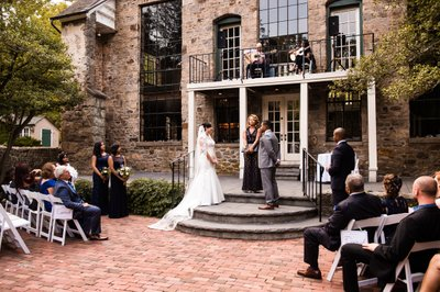 Ceremony on Patio at Holly Hedge Estate