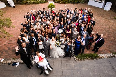 Group Photo of all Wedding Guests at Holly Hedge