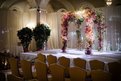 Flowery Huppah at Ritz-Carlton Wedding Ceremony