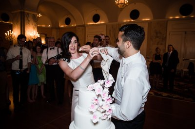 Cutting the Wedding Cake at Ritz-Carlton