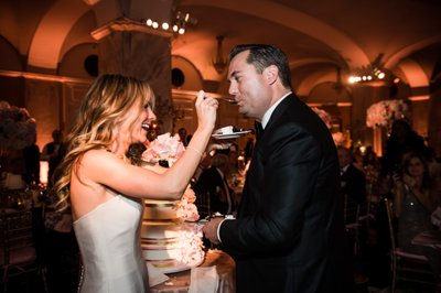 Feeding Wedding Cake at Ritz-Carlton